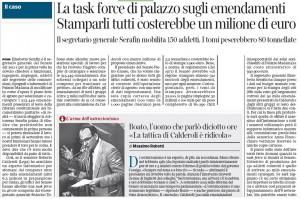 Emendamenti Calderoli, stampati peserebbero 802.900 kg e costerebbero 1 mln di euro