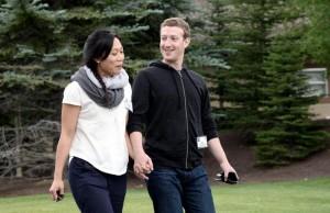 Mark Zuckerberg e sua moglie Priscilla Chan (foto Ansa)