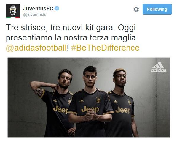 Juventus, svelata terza maglia: nera con rifiniture oro