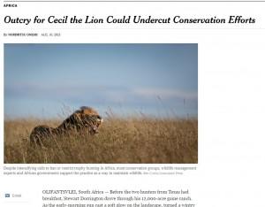 Leone Cecil: perché la caccia serve a tutelare gli animali