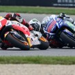Marc Marquez (Honda) ha vinto, davanti a Jorge Lorenzo e Valentino Rossi (foto Ansa)