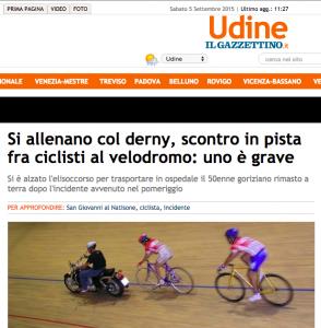 Si allenano con derny, scontro fra ciclisti: uno grave