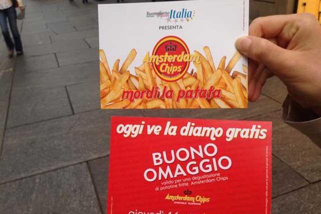 """Amsterdam Chips: """"La diamo gratis"""", """"Mordi la patata"""". Ma..."""