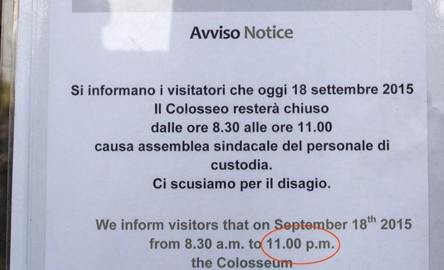Colosseo: sindacati e l'inglese, ah, saperlo...FOTO