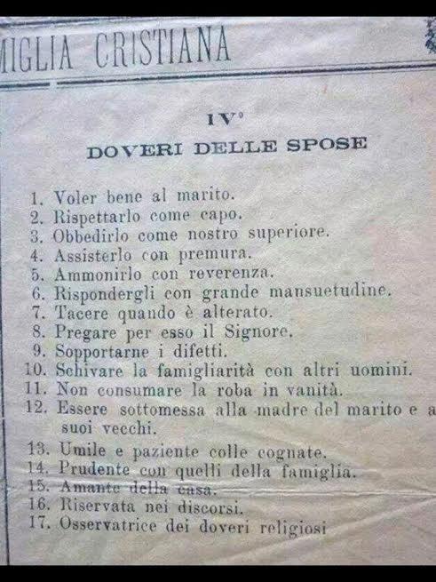 """Un vecchio manifesto degli anni '60 con i """"doveri delle spose"""""""