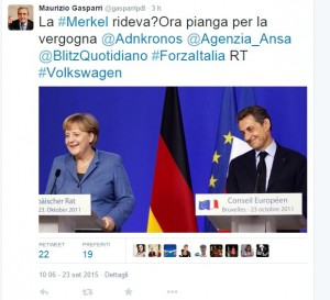 Volkswagen, Gasparri: Merkel rideva, ora pianga per vergogna
