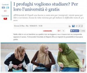 Il Giornale: Profughi vogliono studiare? Università è gratis