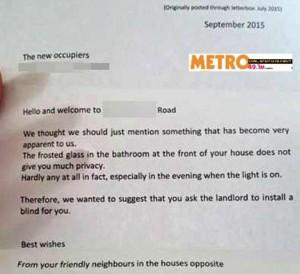 La lettera pubblicata da Metro