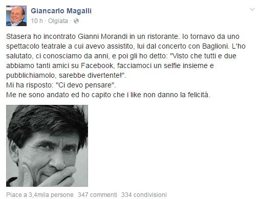 Gianni Morandi nega selfie a Giancarlo Magalli e lui...