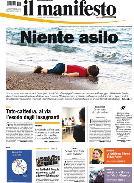 """Bimbo siriano morto in mare, la prima choc de """"Il Manifesto"""""""