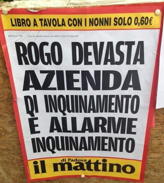 La locandina del Mattino di Padova