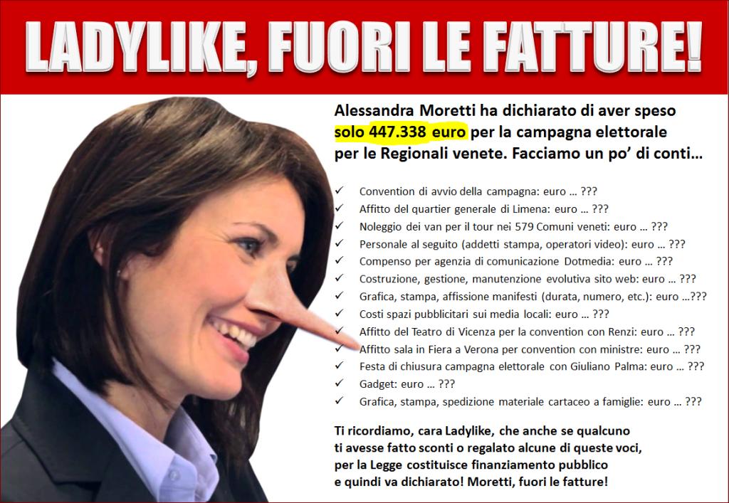 "Alessandra Moretti, Lega: ""Spese elettorali, mostri fatture"""