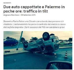 Palermo: traffico in tilt a causa di due auto ribaltate