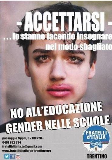 FdI, gaffe: foto vittima omofobia su volantino antigender