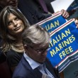 Ban Ki Moon alla Camera, cartelli Forza Italia Marò liberi