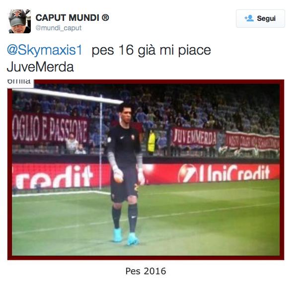 "Striscione ""Juve m...."" su PES 2016: errore Konami o bufala?"