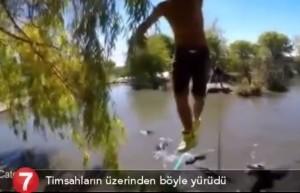 VIDEO YOUTUBE Funambolo cammina su corda sopra 10 alligatori