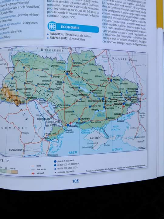 Crimea è in Russia per Atlante Larousse. Ucraina protesta