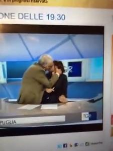 Gene Gnocchi bacia in diretta conduttrice