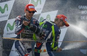 Jorge Lorenzo e Valentino Rossi (foto Ansa)