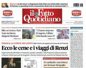 """Marco Travaglio sul Fatto: """"Renzi, culetto di piombo"""""""