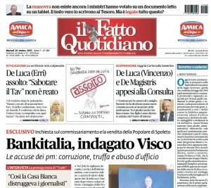 """Marco Travaglio sul Fatto Quotidiano: """"Severino e sederini"""""""