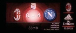 Milan-Napoli 0-4: il tabellone di San Siro