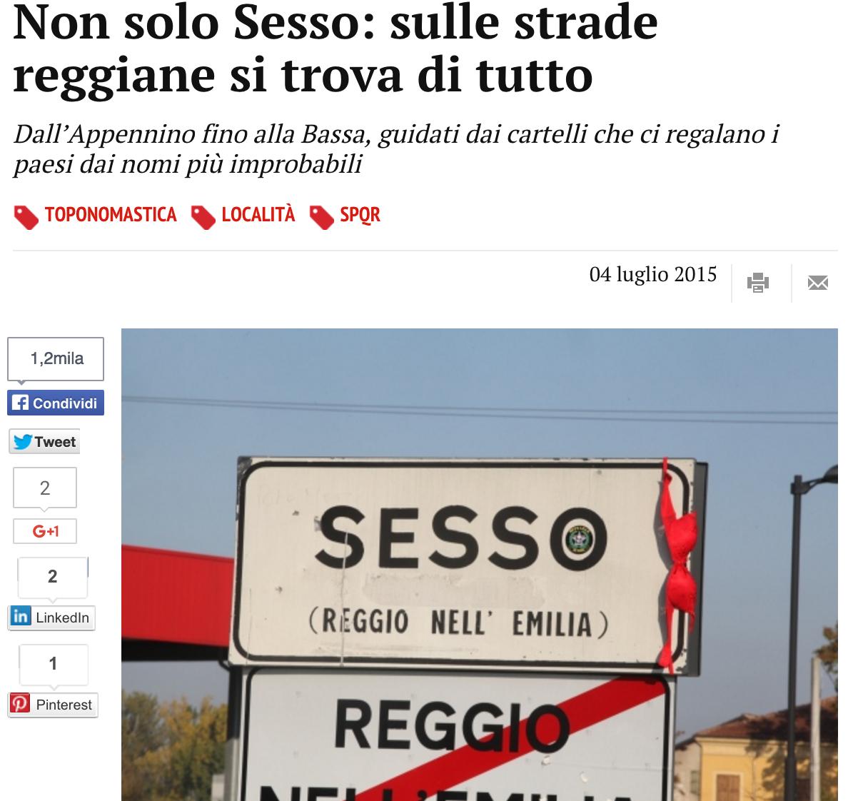 Sesso, Camporella, Lupozzo... Gli strani Comuni dell'Emilia