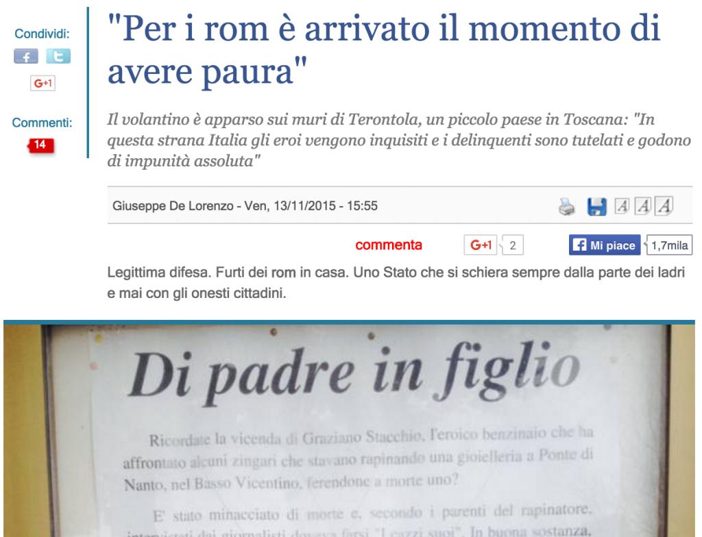 """Terontola, minacce a rom: """"Dovete avere paura"""" FOTO"""