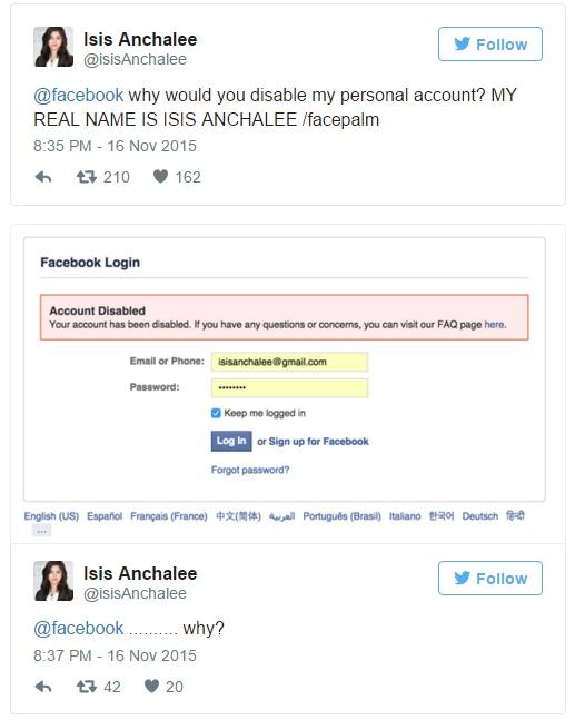 Facebook, lei si chiama Isis: account cancellato FOTO