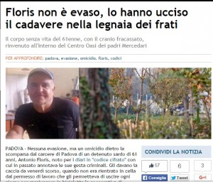 Antonio Floris, detenuto ucciso a bastonate: giallo a Padova