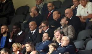 Silvio Berlusconi allo stadio (foto Ansa)