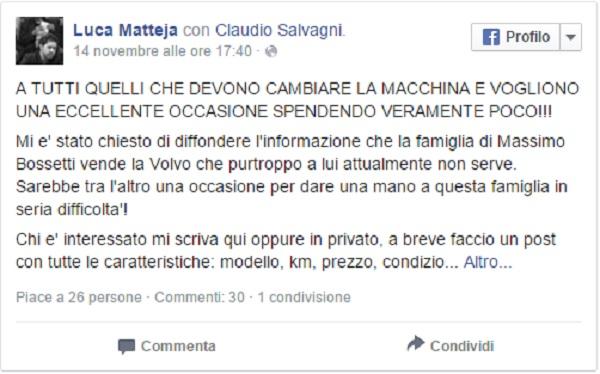 Massimo Bossetti, auto in vendita su Facebook