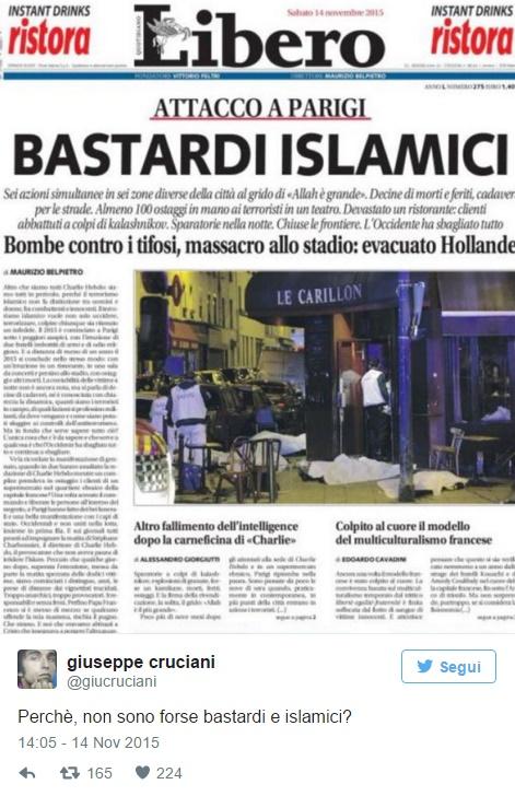 """""""Bastardi e islamici"""": Giuseppe Cruciani bannato da Facebook"""