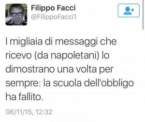 Filippo Facci contro Napoli, la battuta sulla scuola...