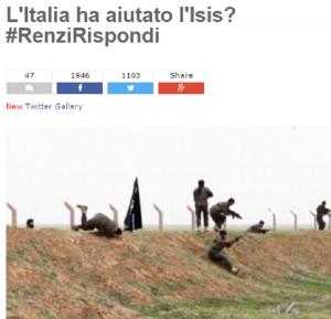 "Italia ha aiutato Isis? M5S: ""Renzi rispondi"""