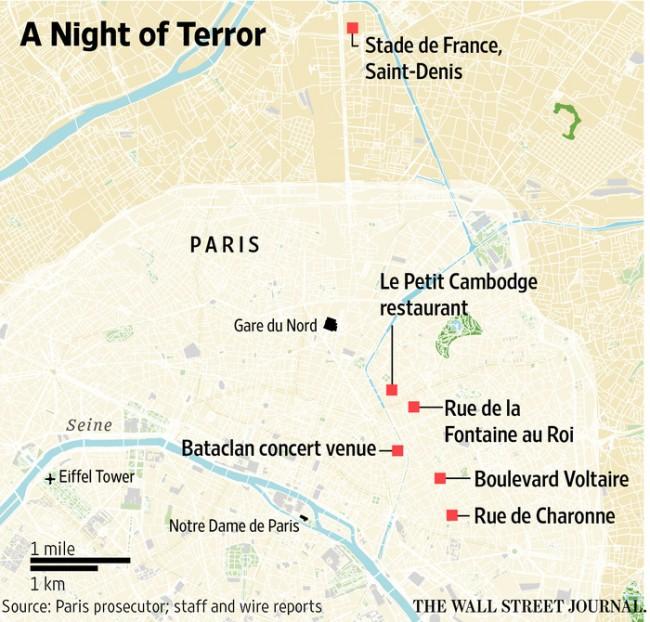 Attentati Isis Parigi: i luoghi degli attacchi MAPPA