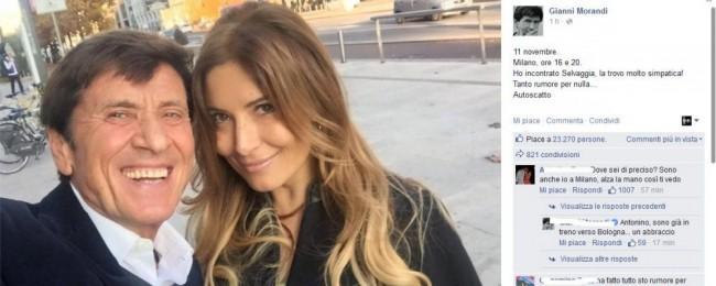 Gianni Morandi-Selvaggia Lucarelli, selfie e cacciati...FOTO