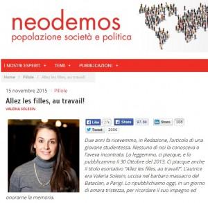 Attentati Parigi, articolo Valeria Solesin: Avanti donne!