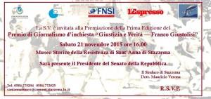 """Premio """"Giustizia e verità Franco Giustolisi"""" il 21 novembre"""