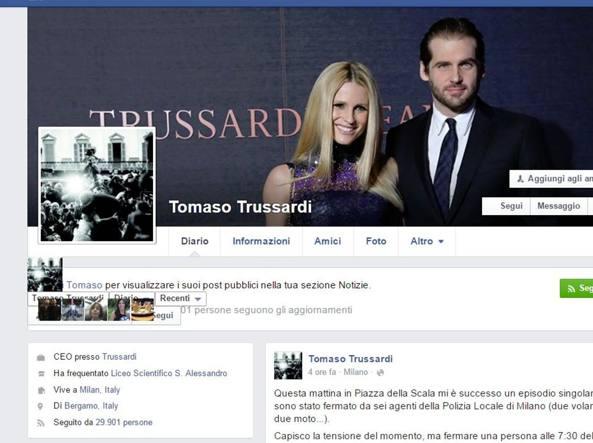 Tomaso Trussardi fermato e multato a Milano. Lo sfogo su Fb