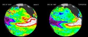 Il sito della Nasa mette a confronto le immagini del fenomeno climatico ciclico rilevate quest'anno dal satellite Jason-2 con quelle inviate a Terra nel 1997 dal satellite Topex/Poseidon.