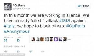 Attacco terrorista Isis in Italia sventato da Anonymous?