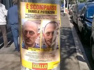 Daniele Potenzoni: i volantini affissi per tutta Roma