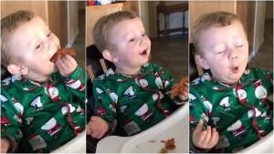 YOUTUBE Bimbo assaggia bacon per la prima volta