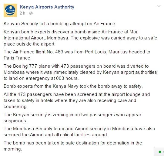 L'annuncio delle autorità aeroportuali kenyote