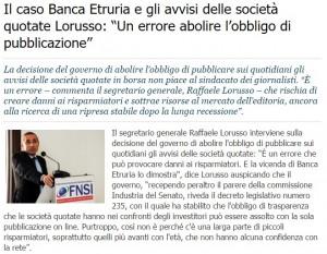 """Lorusso-Fnsi: """"Sbagliato abolire obbligo pubblicazione Spa"""""""