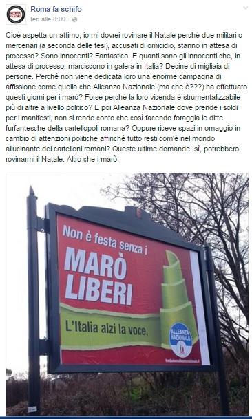 "Romafaschifo contro marò: ""Mercenari accusati d'omicidio"""
