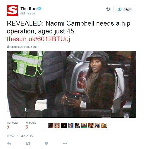 Naomi Campbell in sedia a rotelle? Dicono che...
