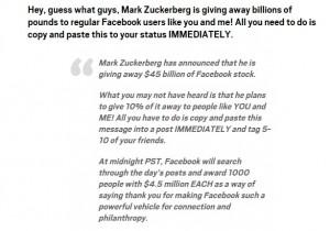 Mark Zuckerberg dona miliardi a chi condivide... Bufala ma..